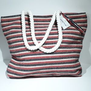 Tommy Bahama X Large Tote Zipper Lined Pocket Red